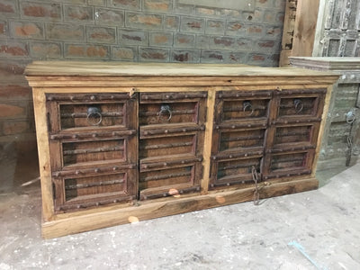 Light Wood Sideboard with Dark Wood Doors