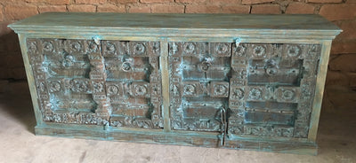 Wood Sideboard with Carved Blue Doors