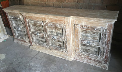 7.5' Light Finish Wood Sideboard with Small Doors
