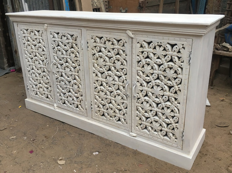 Carved White Wood Cabinet