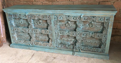 Wood Sideboard with (4) Carved Dark Blue Doors