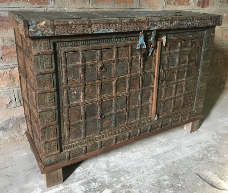Carved Wood Cabinet with Drawers