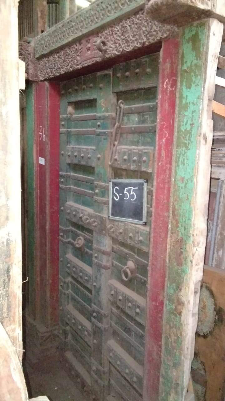 Red and Green Wooden Door with Frame