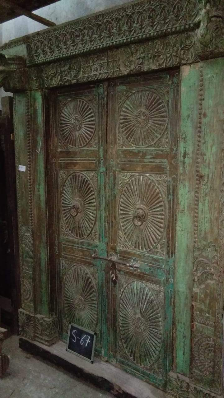 Large Green and Brown Wooden Door with Frame