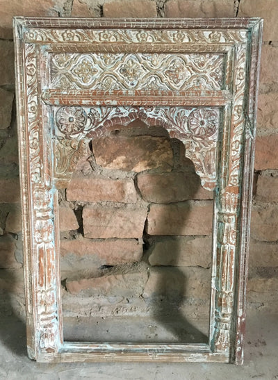 White Wash Carved Wood Mirror Frame