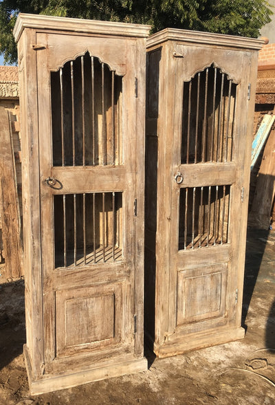 Natural Wood Single Door with Metal Accents