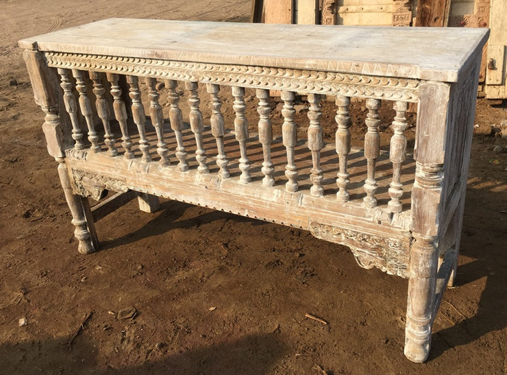 Carved Wood Console Table with Spindles