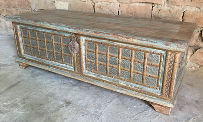 Low Carved Wooden Trunk with Light Green