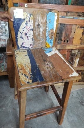 Recycled Boatwood Retro Bar Chair