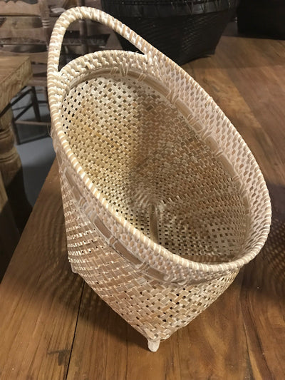 Tilted White Natural Bamboo Fiber Woven Basket - Small Size From Three Piece Set