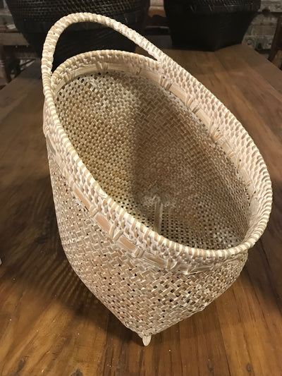 Tilted White Natural Bamboo Fiber Woven Basket - Medium Size From Three Piece Set