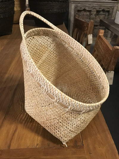 Tilted White Natural Bamboo Fiber Woven Basket - Large Size From Three Piece Set