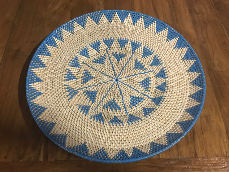 Turquoise Natural Fiber Woven Plate - Small Size from Two Piece Set