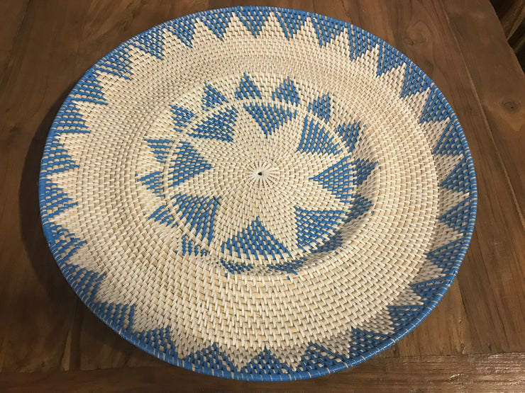 Turquoise Natural Fiber Woven Plate - Large Size from Two Piece Set
