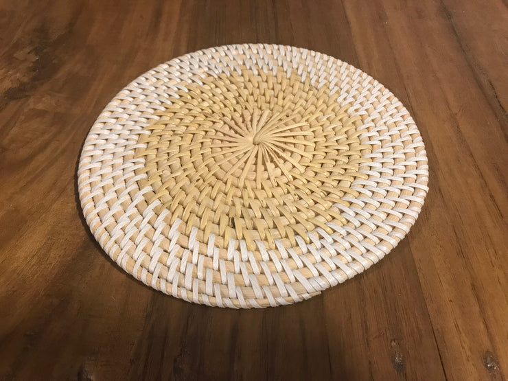 Extra Small White Natural Fiber Woven Placemat