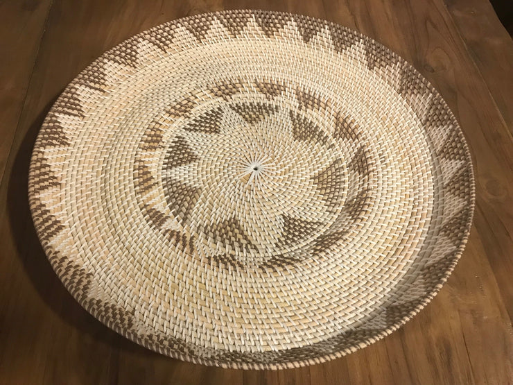Large White and Chocolate Natural Fiber Woven Plate