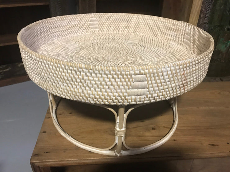White Natural Fiber Woven Tray
