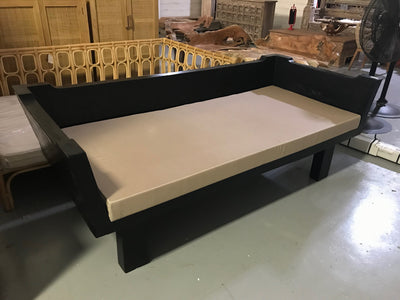 Black Suar Wooden Sofa with Cushion