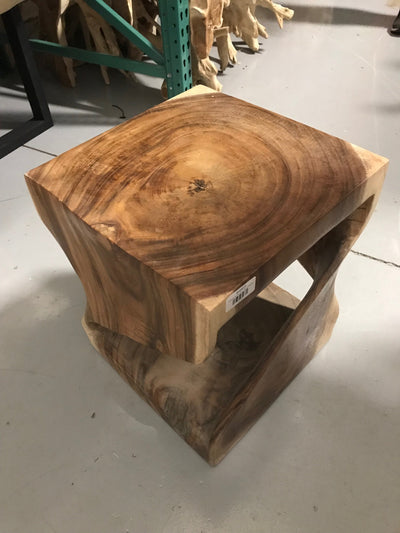 Large Wooden Twisted Stool