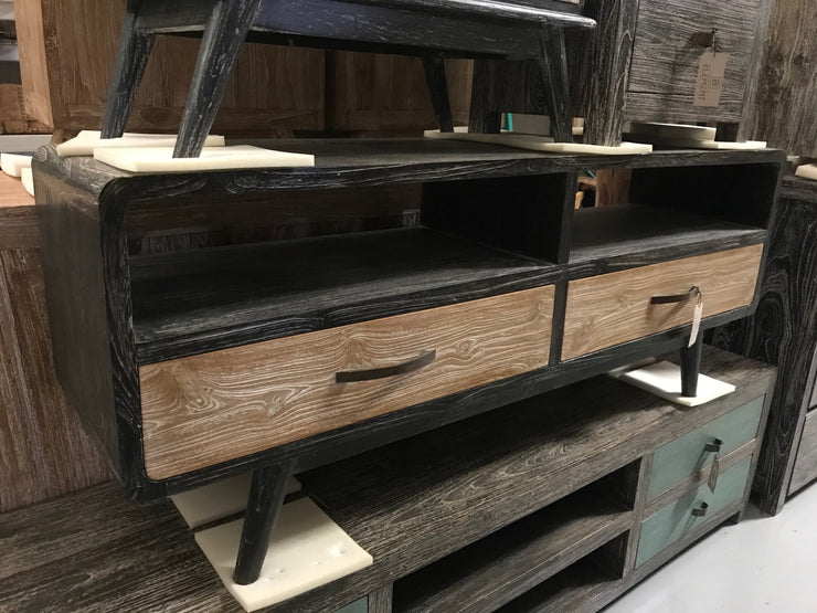 Wooden Tv Stand with Two Drawers and Two Shelves