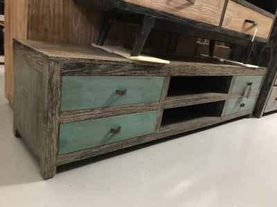 Wooden Tv Stand with Four Drawers and Two Shelves