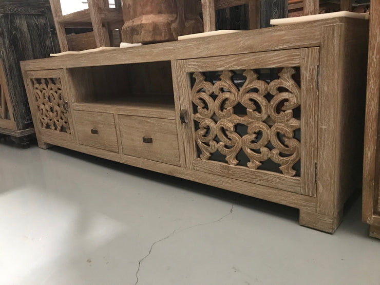 Wooden TV Stand with Carving, Two Drawers, Two Doors, and One Shelf