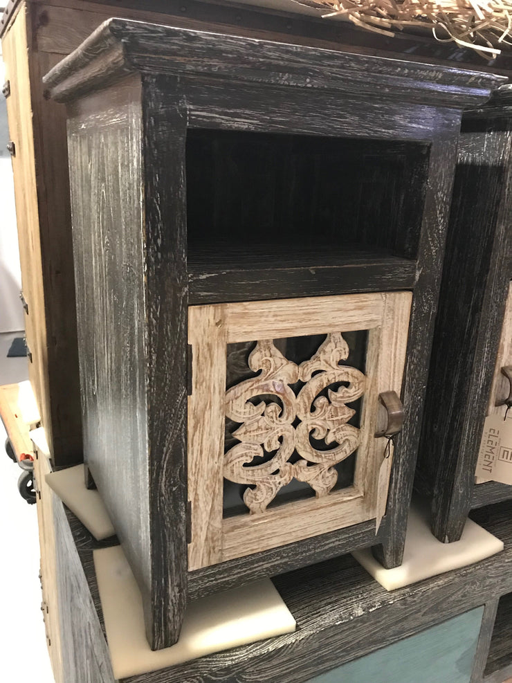 Wooden Nightstand with Carving, One Door, and One Shelf