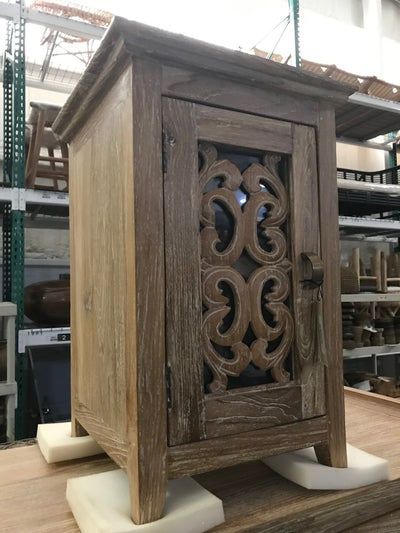 Wooden Nightstand with Carving and One Door