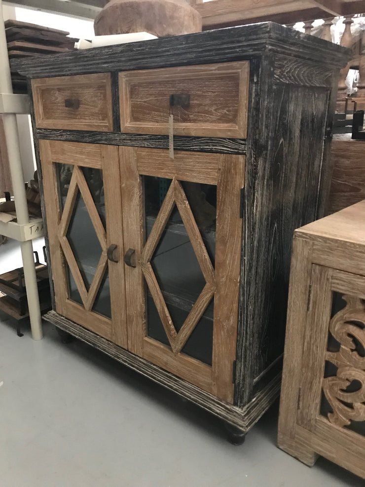 Wooden Sideboard with Glass, Two Drawers, and Two Doors