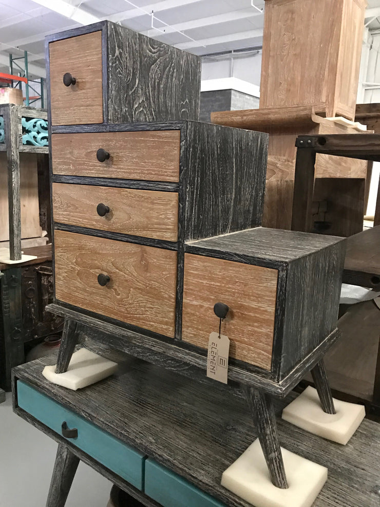 Wooden Stair Shaped Small Dresser with Five Drawers
