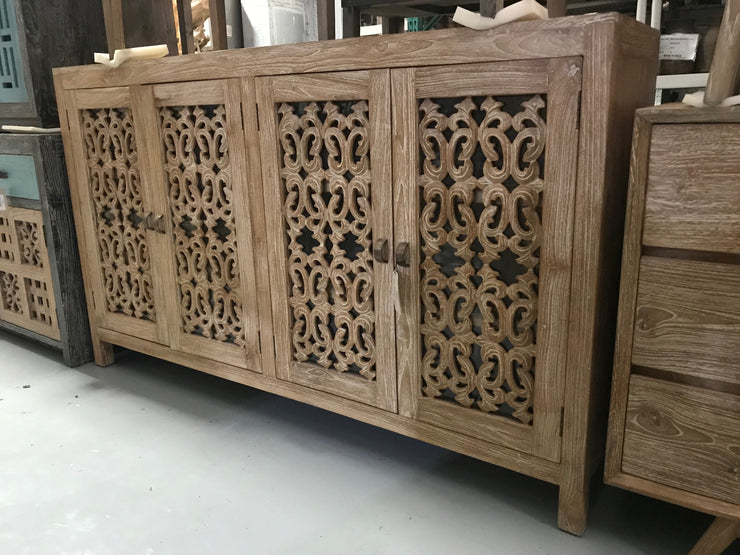 Wooden Sideboard with Carving and Four Doors