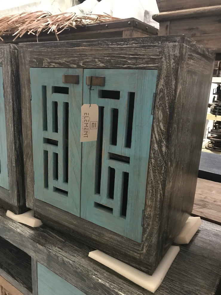 Wooden Nightstand with Two Doors
