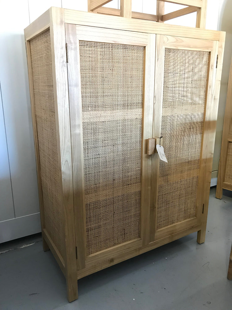 Wooden and Natural Fiber Woven Rectangular Cabinet with Two Doors