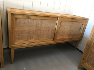 Long Wooden and Natural Fiber Woven Sideboard with Two Sliding Doors