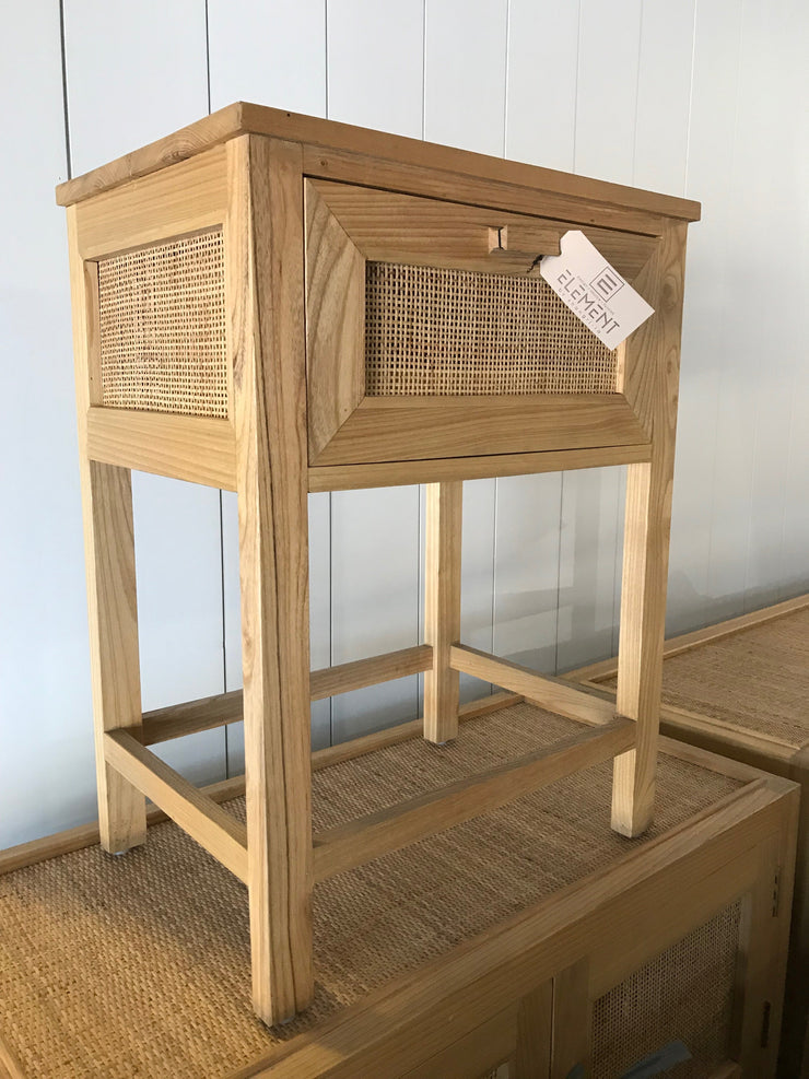 Wooden and Natural Fiber Woven Side Table with One Drawer