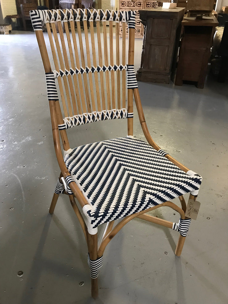White and Navy Blue Natural Fiber Woven Chair