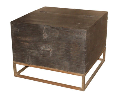Dark Wood Box Table with Iron Stand