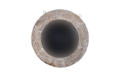 Bleached Wooden Wheel Mirror Frame