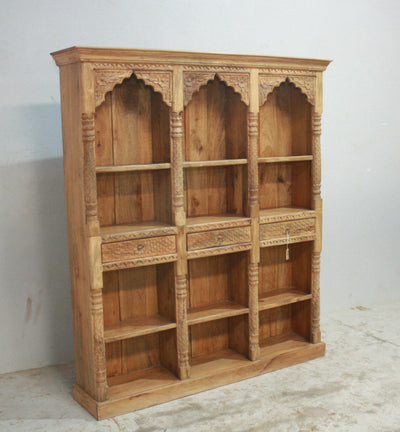 Wooden Bookshelf with Three Arches