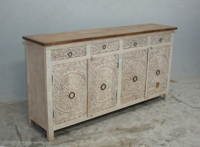 White Wooden Carved Sideboard