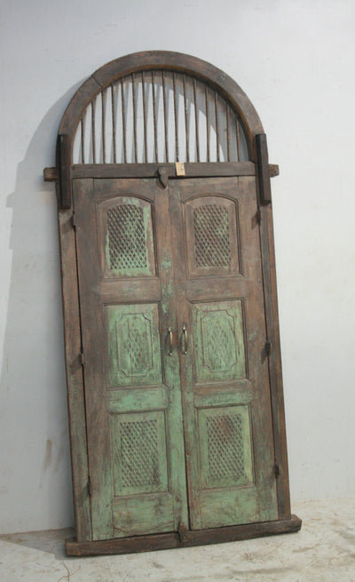 Wood Door with Metal Arch