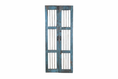 Blue Wooden Iron Rod Door