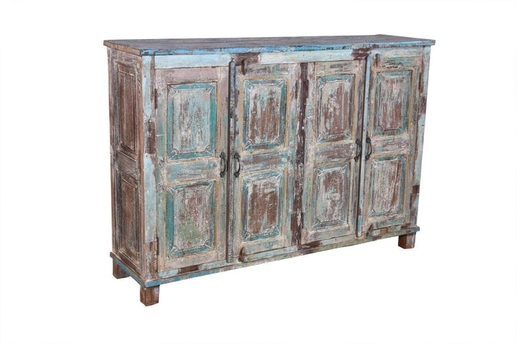 Blue and Brown Wooden Door Sideboard