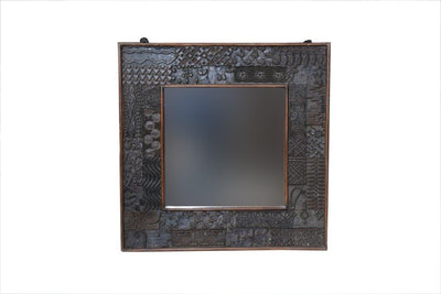 Square Wooden Printing Block Mirror Frame