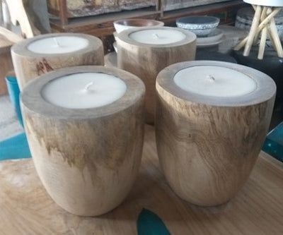 Wooden Suar Candle Holder