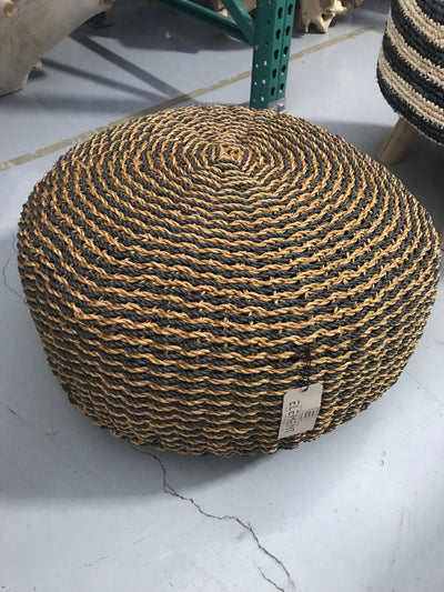 Natural Hyacinth Fiber Woven Cushion Stool