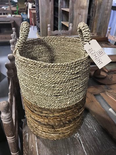 Round Natural Banana and Seagrass Fiber Woven Basket - Small Size from Three Piece Set