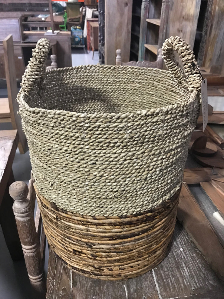Round Natural Banana and Seagrass Fiber Woven Basket - Medium Size from Three Piece Set