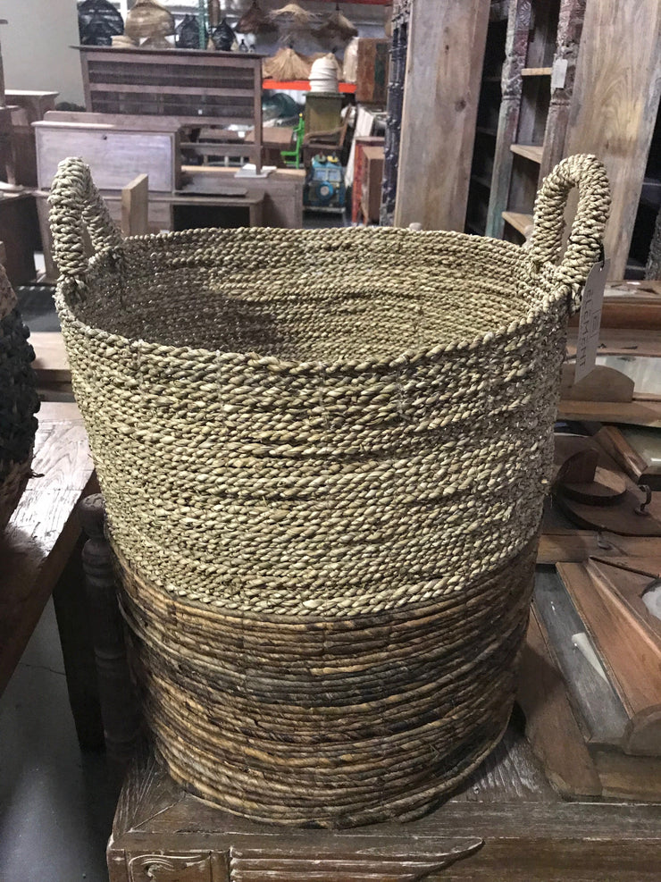 Round Natural Banana and Seagrass Fiber Woven Basket - Large Size from Three Piece Set