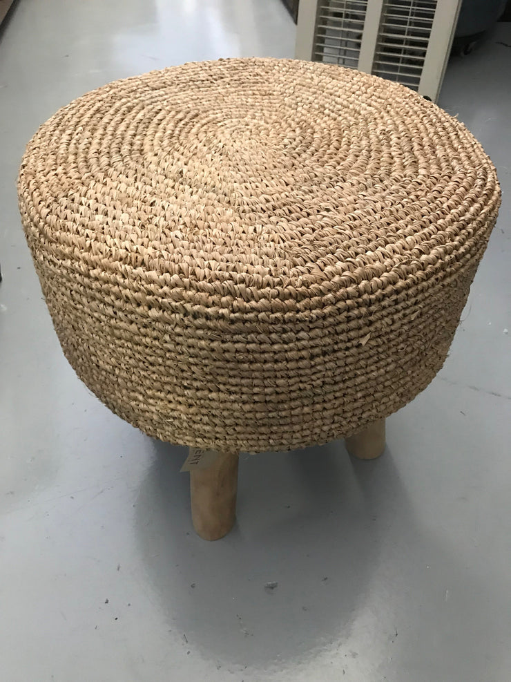 Round Natural Fiber Woven Stool